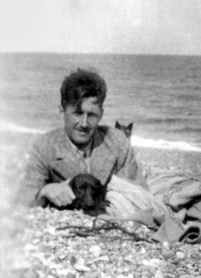 George-Orwell and his dachshund