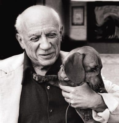 Pablo Picasso and his dachshund